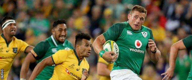 CJ Stander was held up over the line in the 43rd minute at Suncorp Stadium