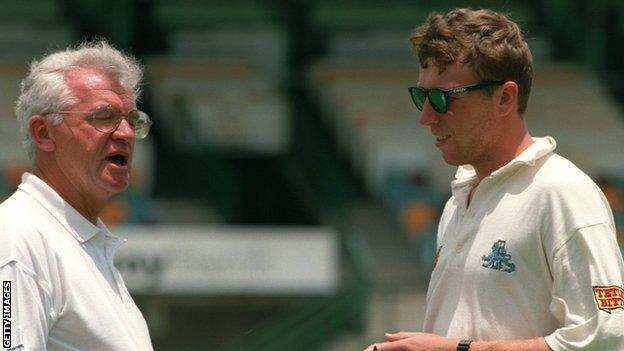 John Reid with England captain Mike Atherton in 1994