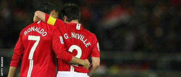 Cristiando Ronaldo and Gary Neville