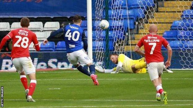 Birmingham's Scott Hogan sees his penalty saved by Dillon Phillips