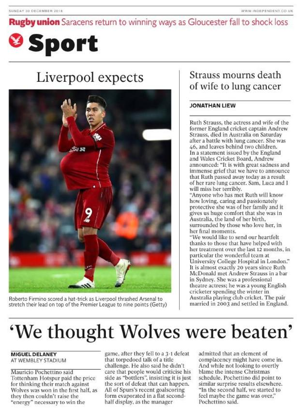 Independent back page on Sunday