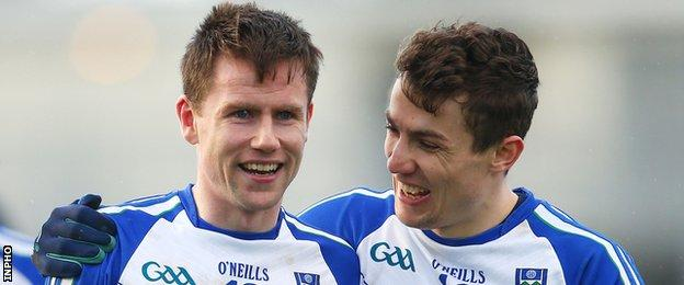 Karl O'Connell and Thomas Kerr celebrate after Monaghan's win in Killarney