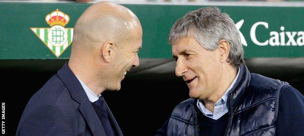 Setien (right) had been Betis manager since 2017 and led them to sixth and 10th-place finishes in La Liga