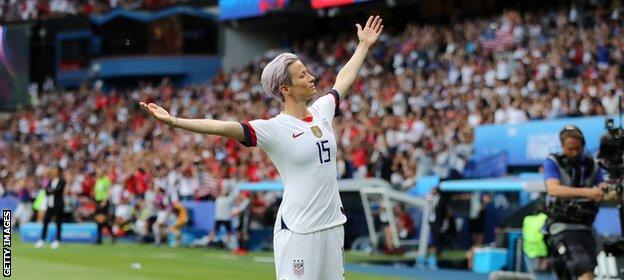 Megan Rapinoe celebrates scoring at the World Cup