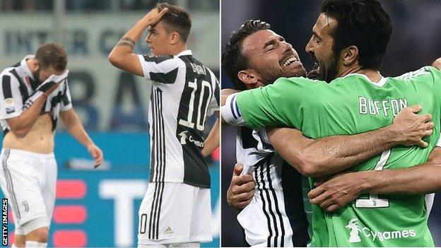 Juve looked shocked when they trailed through Andrea Barzagli's own goal but the defender celebrated wildly with Gianluigi Buffon after the winner