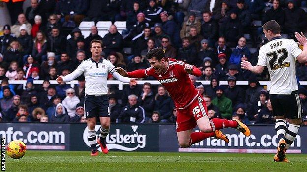 David Nugent wins a first-half penalty for Middlesbrough against Fulham