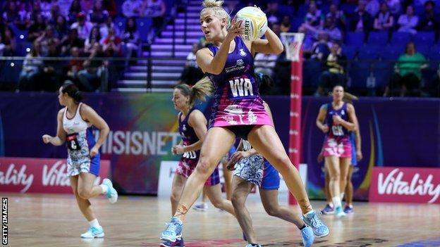 Scotland's Nicola McCleery during first game against Samoa in Vitality Netball World Cup