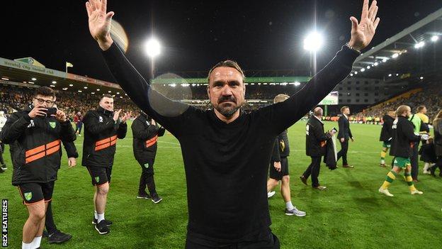 Norwich head coach Daniel Farke celebrates