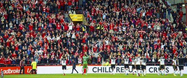 The Aberdeen players salute their fans at Tynecastle