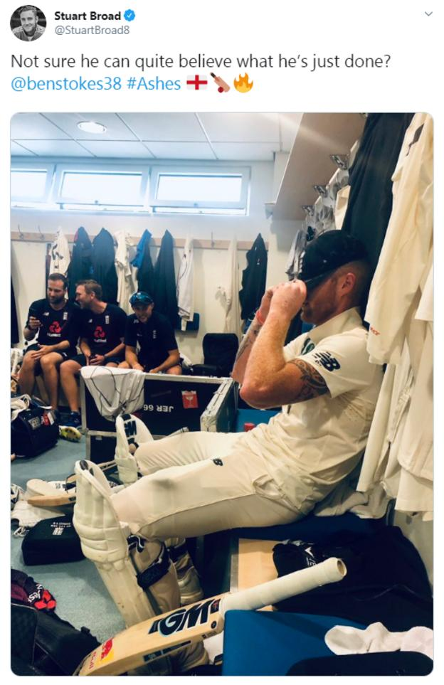 Picture of Ben Stokes in the England dressing room.