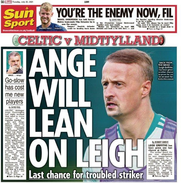 The back page of the Scottish Sun on 200721