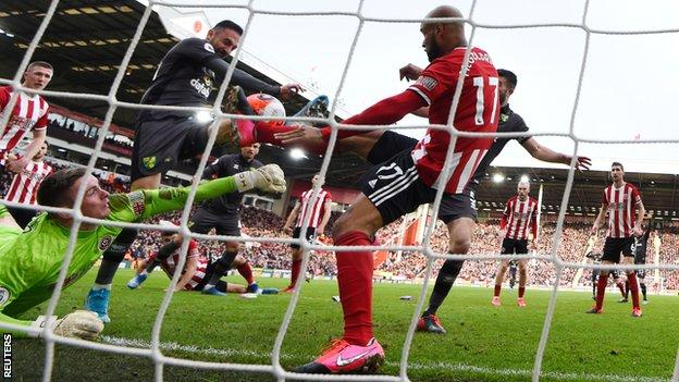 Josip Drmic has a shot blocked on the line against Sheffield United