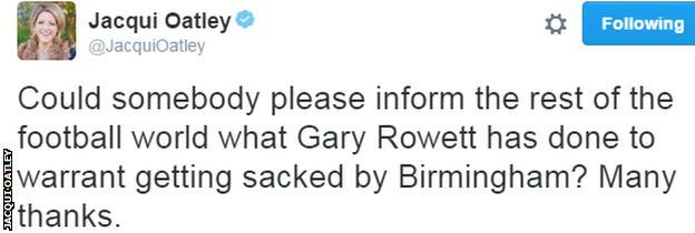 Jacqui Oatley Tweet on Gary Rowett