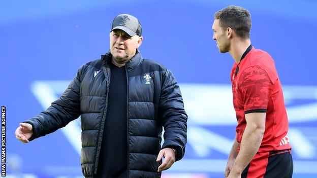 Wales coach Wayne Pivac and wing George North in training