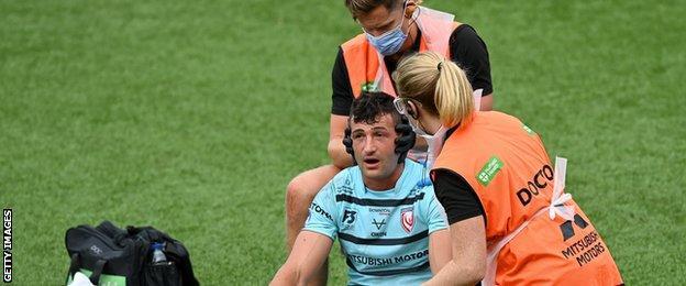 Jonny May receives treatment
