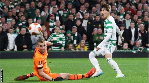 Hradecky made six saves, every one of them special, as he kept Celtic out