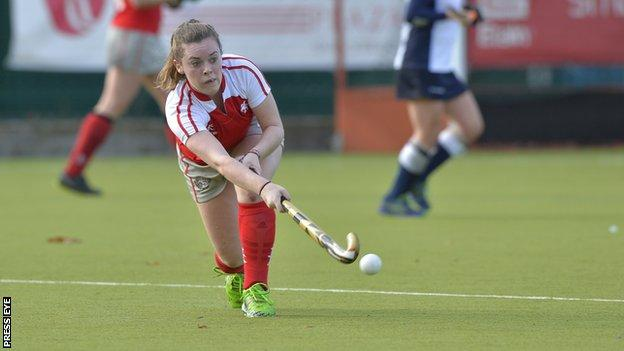 Ruth Maguire of Pegasus in action against North Down in the Irish Senior Cup