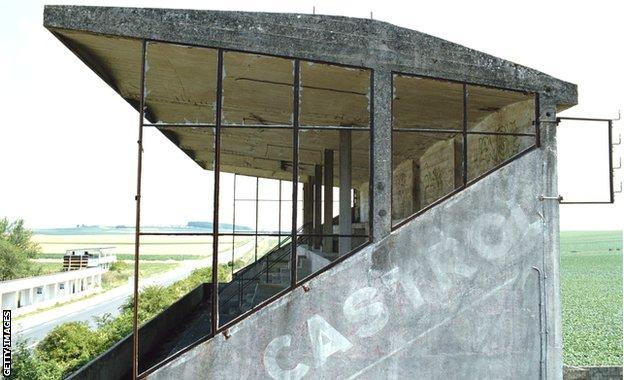 Abandoned grandstand