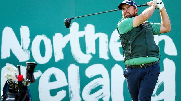 Shane Lowry tees off during his practice round at Galgorm on Wednesday