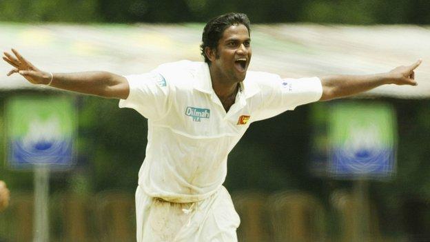Former Sri Lanka bowler Nuwan Zoysa celebrates taking a wicket in a Test against Australia