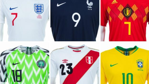 b9a62b783 World Cup 2018  Look at every home shirt for this summer s tournament - BBC  Sport