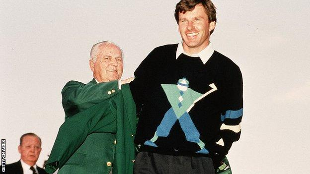 Hord Hardin, chairman of the Masters and Augusta National Golf Club, presents Nick Faldo with his Green Jacket