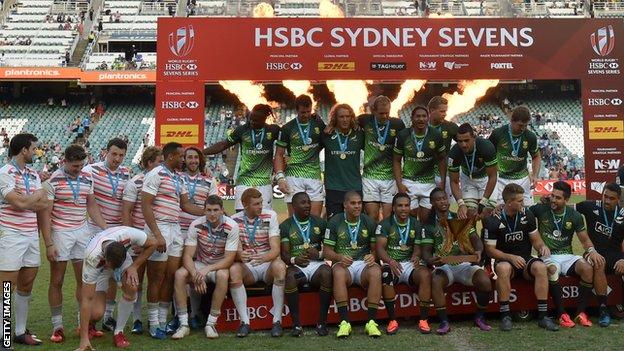 South Africa and England sevens teams on the medal podium in Sydney