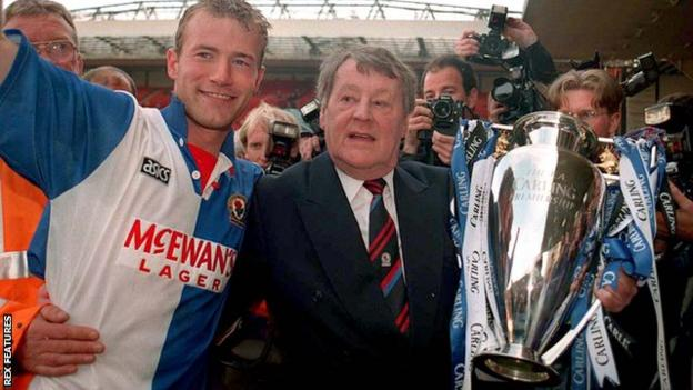 Jack Walker (right) celebrates Blackburn's title triumph with Alan Shearer, who finished the season with 34 top-flight goals