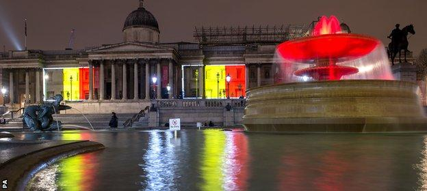 The National Gallery and fountains in Trafalgar Square