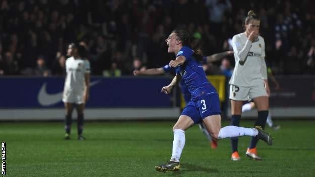 Hannah Blundell celebrates her goal for Chelsea