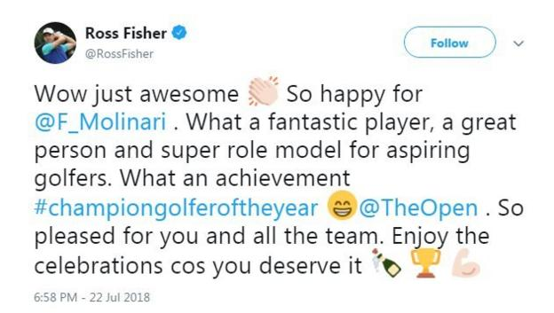 Ross Fisher congratulates Francesco Molinari