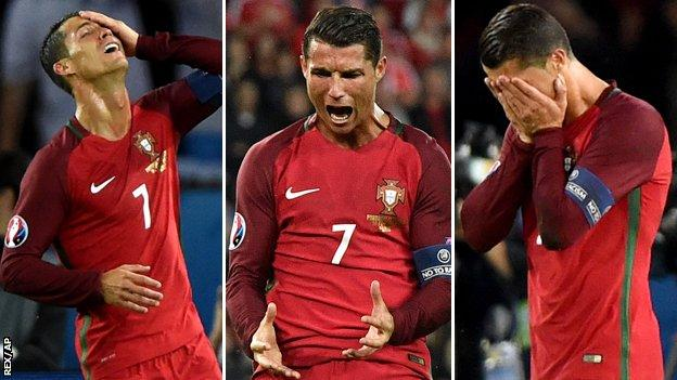 Cristiano Ronaldo shows his frustration against Austria