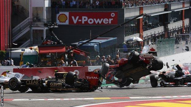 Romain Grosjean, Fernando Alonso and Lewis Hamilton