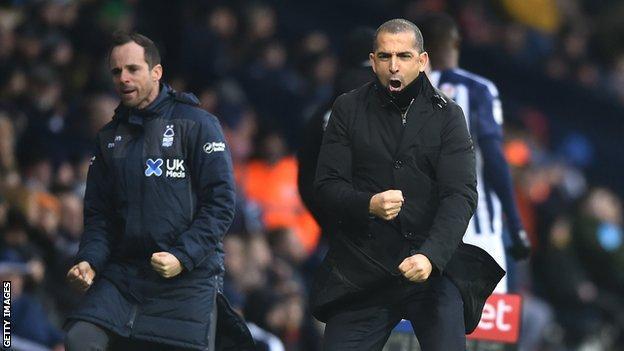 Nottingham Forest head coach Sabri Lamouchi celebrates a goal