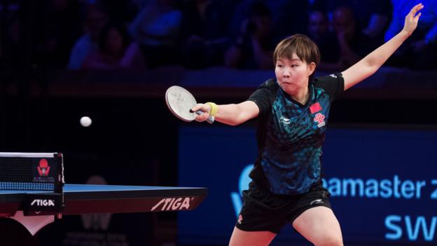 Zhu Yuling of China returns the ball to Mima Ito of Japan during the women's single final table tennis match at the Swedish Open Championships