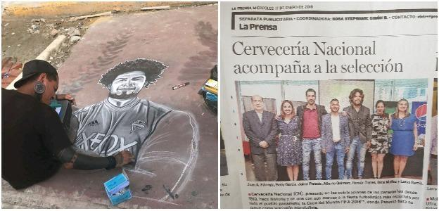Street art featuring Roman Torres in Panama City and a picture of him in a newspaper