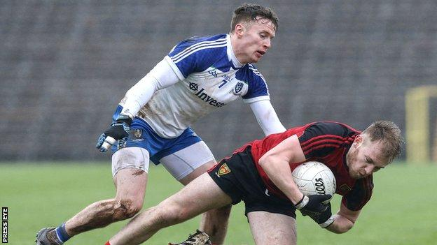 Monaghan's Fintan Kelly challenges Down's Gerard McGovern