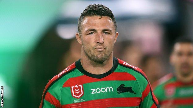 Sam Burgess playing for NRL side South Sydney Rabbitohs