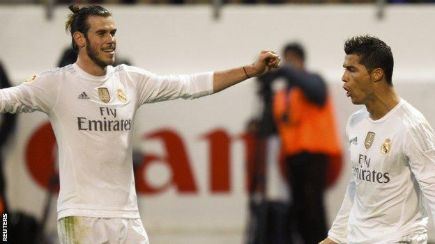 Gareth Bale and Cristiano Ronaldo celebrate Real Madrid's second goal at Eibar