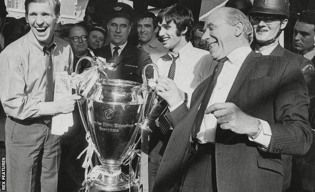 George Best with the European Cup in 1968