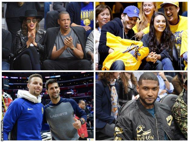 Celebrities watching the Golden State Warriors