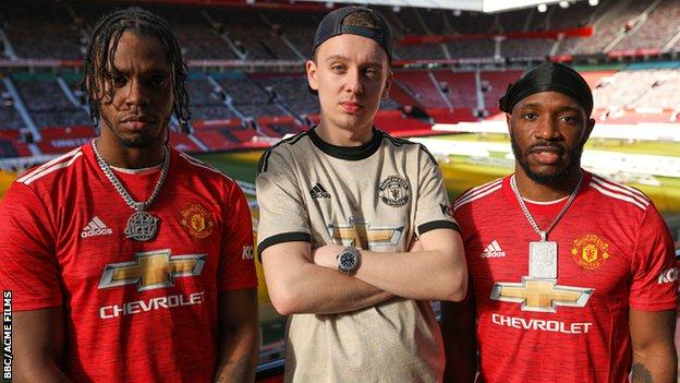 Manchester United fans, Krept, Konan and Aitch at Old Trafford