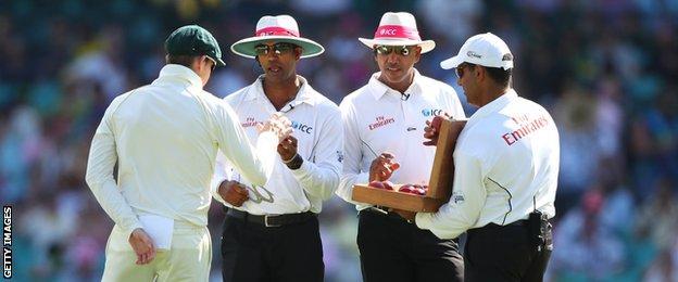 Umpires change the ball