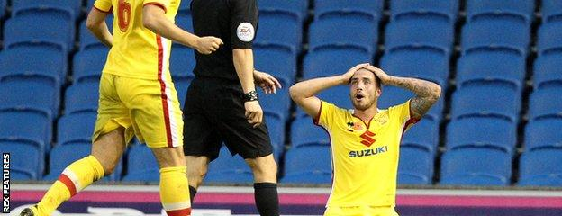 Samir Carruthers reaction after his penalty appeal is ruled out by referee Dean Whitestone