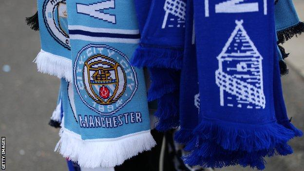 Manchester City and Everton half and half scarves