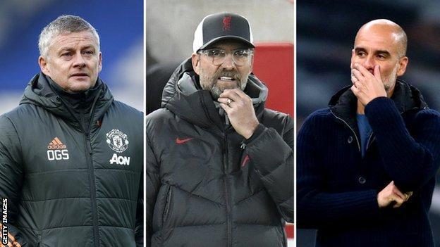 Manchester United boss Ole Gunnar Solskjaer (left), Liverpool manager Jurgen Klopp (centre) and Manchester City boss Pep Guardiola