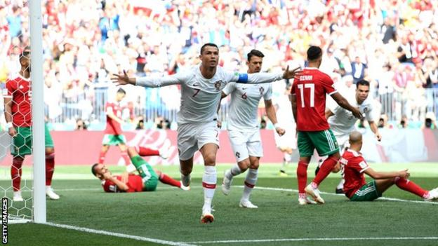 Cristiano Ronaldo celebrates scoring for Portugal against Morocco at the 2018 World Cup