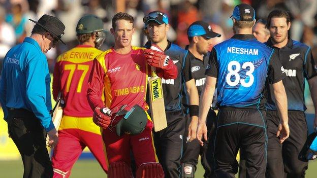 Zimbabwe's Sean Williams walks off after the first ODI against New Zealand