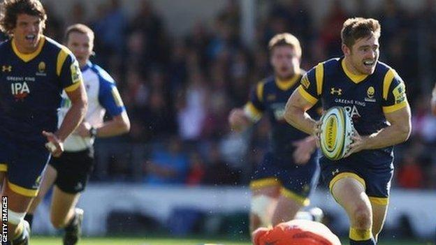 Tom Heathcote created Wynand Olivier's try against Newcastle at Sixways in October 2016
