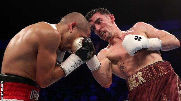 Anthony Crolla in action during his narrow win over Frank Urquiaga
